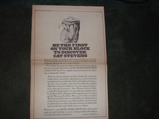 * 1970 CAT STEVENS POSTER TYPE PROMO AD