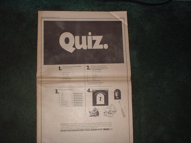 * 1970 RANDY BACHMAN AXE POSTER TYPE PROMO AD