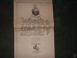 * 1970 MUNGO JERRY POSTER TYPE PROMO AD - $19.99