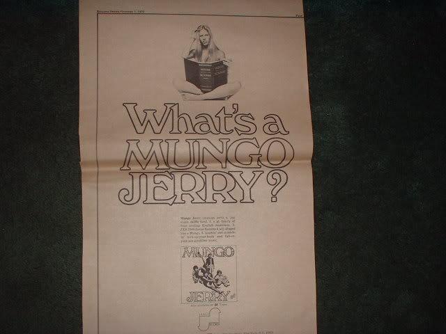 * 1970 MUNGO JERRY POSTER TYPE PROMO AD