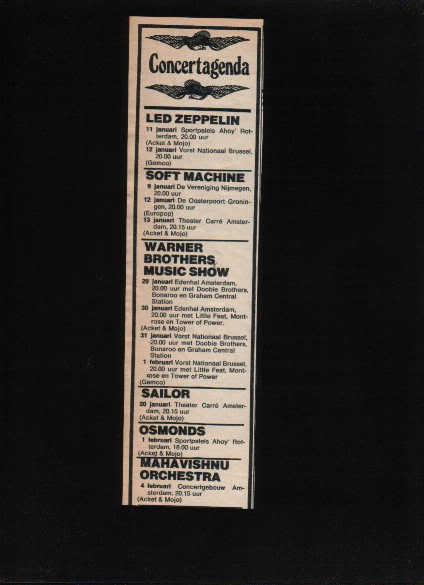 * 1969 LED ZEPPELIN AHOY ROTTERDAM CONCERT AD RARE