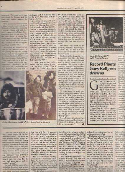 * 1977 LED ZEPPELIN ARTICLE AD WRITE UP 2-PG