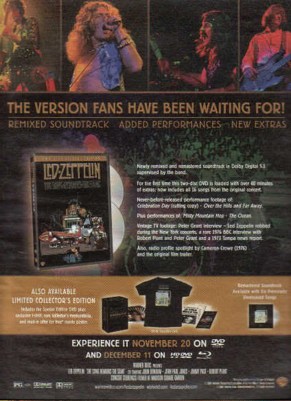 * LED ZEPPELIN SONG REMAINS THE SAME AD 2-PG