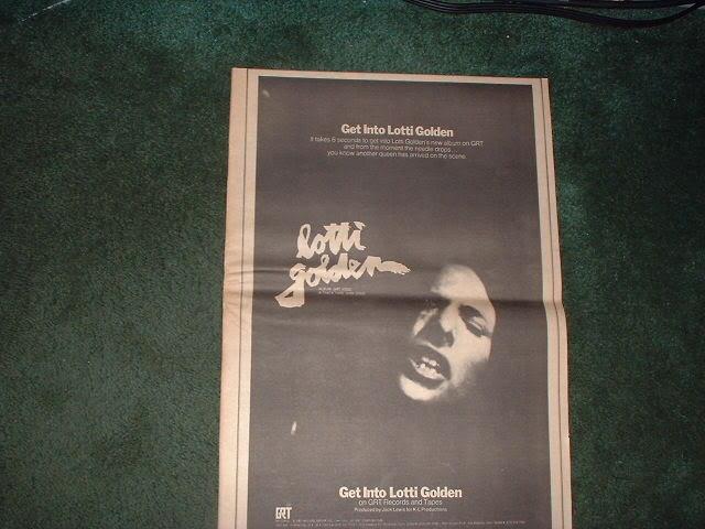 * 1970 LOTTI GOLDEN POSTER TYPE PROMO AD