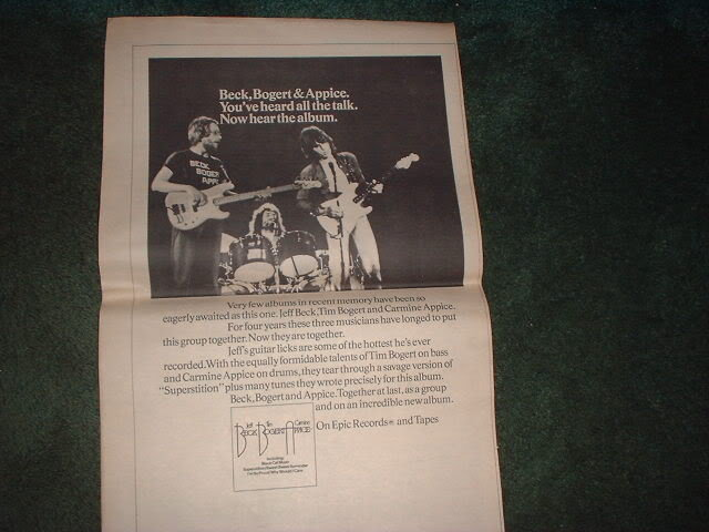* 1973 JEFF BECK BOGERT APPICE POSTER TYPE PROMO AD