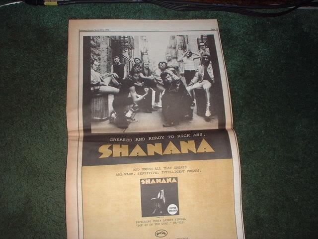 * 1971 SHANANA SHA NA NA POSTER TYPE PROMO AD