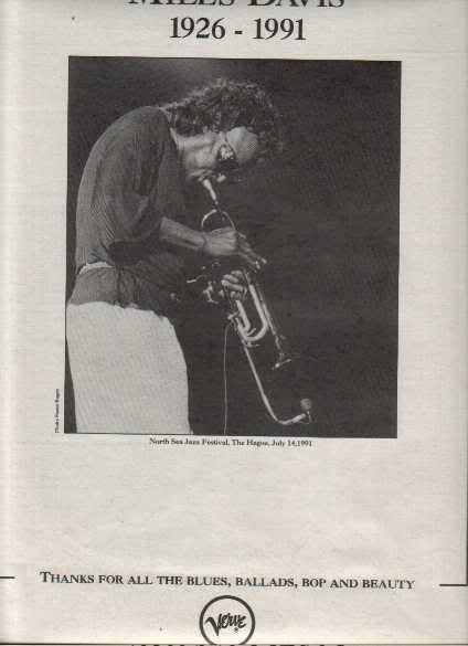* 1991 MILES DAVIS POSTER TYPE PROMO AD