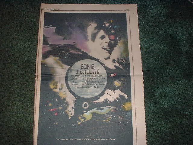 * 1973 DAVID BOWIE POSTER TYPE PROMO TOUR AD