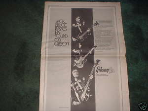 * 1973 JACK BRUCE GIBSON GUITAR POSTER TYPE PROMO AD