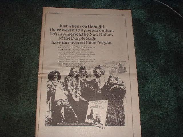 * 1973 NEW RIDERS OF THE PURPLE SAGE PROMO AD