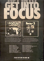 FOCUS MOVING WAVES FOCUS 3 POSTER TYPE AD 1973 - $9.99