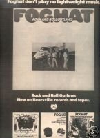 FOGHAT ROCK AND ROLL OUTLAWS PROMO AD 1974