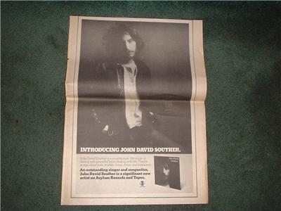 1972 JOHN DAVID SOUTHER POSTER TYPE AD