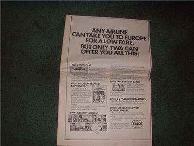1972 TWA POSTER TYPE AD