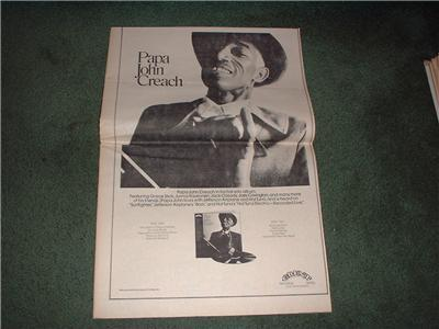 1972 PAPA JOHN CREACH POSTER TYPE AD