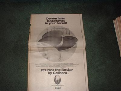 1972 GOTHAM ITS PASS THE BUTTER POSTER TYPE AD