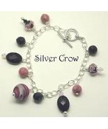 Pink & Black Lamp Work, Crystal, Gemstone Silver Bracelet - $22.99