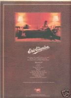 ERIC CLAPTON BACKLESS POSTER TYPE AD 1978
