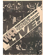 WAR LIVE POSTER TYPE PROMO AD 1974 - $9.99