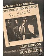 ERIC BURDON SUN SECRETS POSTER TYPE PROMO AD 1975 - $9.99