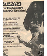 OUTLAWS LADY IN WAITING POSTER TYPE PROMO AD 1976 - $9.99