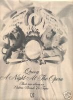 QUEEN A NIGHT AT THE OPERA PROMO AD 1976
