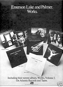 EMERSON LAKE PALMER WORKS POSTER TYPE PROMO AD 1977