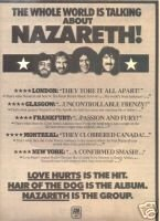NAZARETH HAIR OF THE DOG PROMO AD 1976
