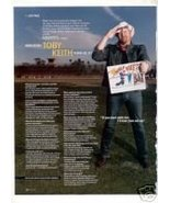 TOBY KEITH PHOTO AD PLUS INTERVIEW 1- PAGE - $5.99