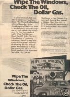 ALLMAN BROTHERS BAND WIPE THE WINDOWS PROMO AD 1976