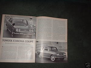 1967 TOYOTA CORONA COUPE ROAD TEST CAR AD 4-PAGE