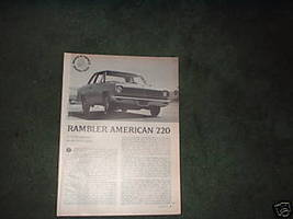 1967 RAMBLER AMERICAN 220 ROAD TEST CAR AD 3-PAGE - $9.99