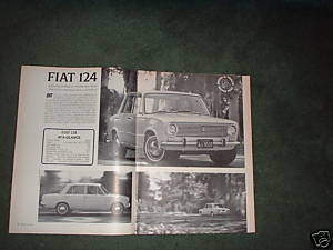 1967 FIAT 124 ROAD TEST CAR AD 4-PAGE