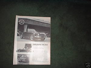 1967 TRIUMPH TR-250 TR 250 ROAD TEST CAR AD 3-PAGE