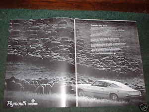 1968 PLYMOUTH BARRACUDA CAR AD FORSAKE THE HERD