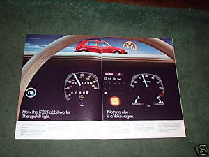 1982 VOLKSWAGEN RABBIT CAR AD 2-PAGE