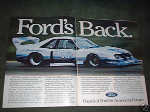 1982 FORD MUSTANG CAR AD RACING 2-PAGE