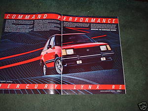 1982 1983 MERCURY LYNX CAR AD 2-PAGE