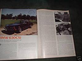 1977 BMW 630CSi 630 CSi ROAD TEST 4-PAGE - $5.06