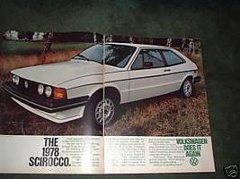 1978 VOLKSWAGEN SCIROCCO VINTAGE CAR AD 2-PAGE - $5.06
