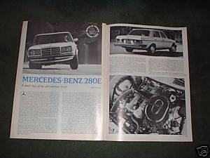 1977 MERCEDES BENZ 280E 280 E ROAD TEST CAR AD