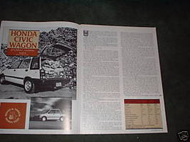1984 HONDA CIVIC WAGON ORIGINAL ROAD TEST 4-PAGE - $5.99