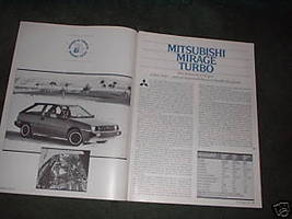 1984 MITSUBISHI MIRAGE TURBO ORIGINAL ROAD TEST 4-PAGE - $5.99