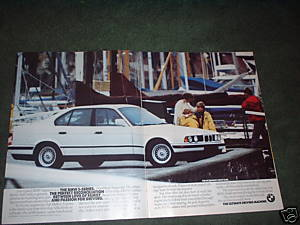 1989 BMW 5 SERIES 5-SERIES VINTAGE CAR AD 2-PAGE
