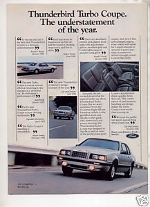 1984 FORD THUNDERBIRD TURBO COUPE VINTAGE CAR AD