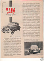 1958 SAAB VINTAGE ROAD TEST 4-PAGE - $6.99