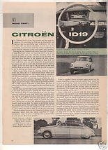1958 CITROEN ID19 VINTAGE ROAD TEST 3-PAGE - $6.99