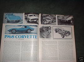 1968 CHEVY CORVETTE ARTICLE AD 5-PAGE - $5.94
