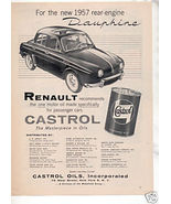 1957 CASTROL OIL RENAULT DAUPHINE VINTAGE CAR AD - $5.94