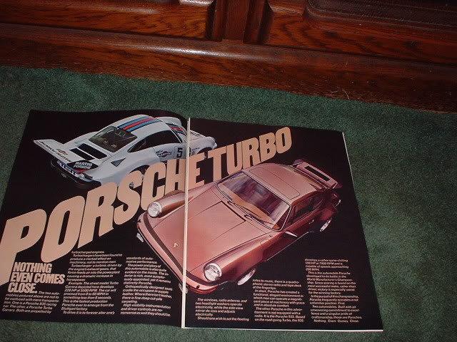 1976 1977 PORSCHE TURBO CARRERA VINTAGE CAR AD 2-PAGE